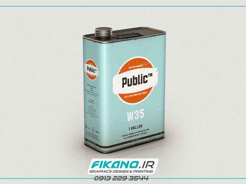 سفارش طراحی بسته بندی قوطی روغن ماشین - وب سایت فیکانو www.fikano.ir